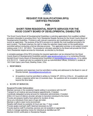 RFQ for Short Term Respite Care